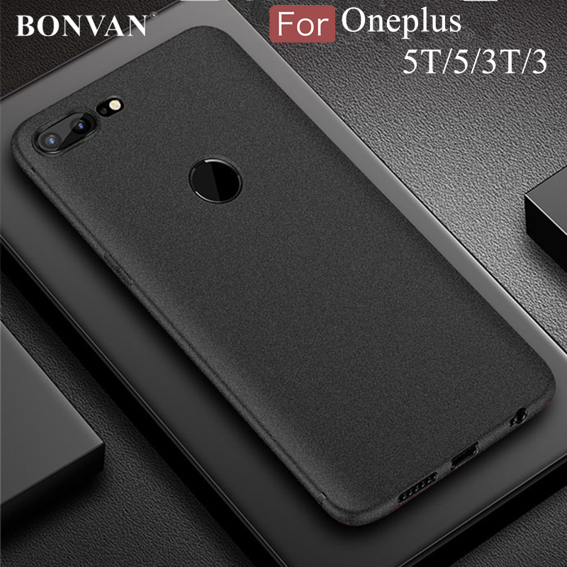 BONVAN For Oneplus 5T 3T Case Soft Silicon Plain Matte Scrub Back Cover For oneplus 5 One plus 3 5t Ultra Thin Phone Case Coque