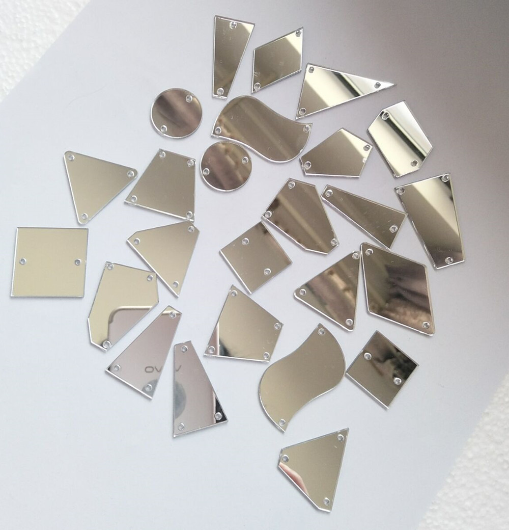 Us 9 0 30pcs Silver Mirror Sew On Rhinestones Flatback Silver Acrylic Sew On Stone For Dress Garment Decortaion In Decorative Mirrors From Home