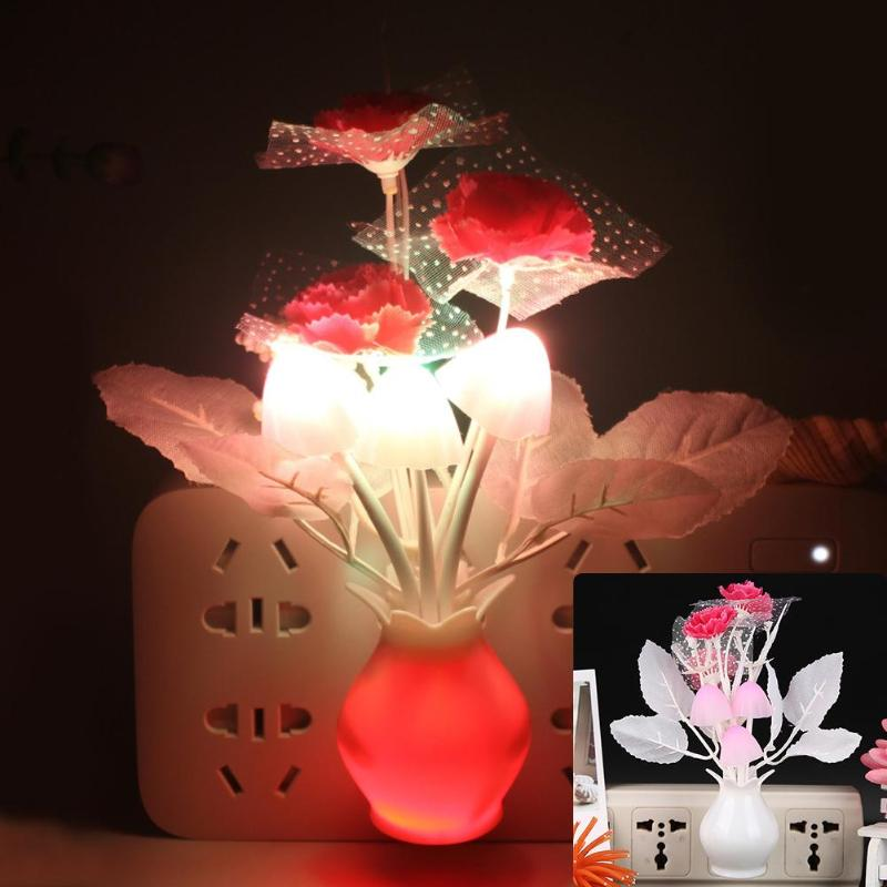 LED Colorful Flower Night Lights Luminous Lamp EU Plug Sensor Night Lamp Romantic Home Decoration For Baby Bedroom