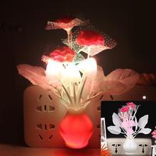 LED Colorful Flower Night Lights Luminous Lamp EU Plug Sensor Night Lamp Romantic Home Decoration for Baby Bedroom