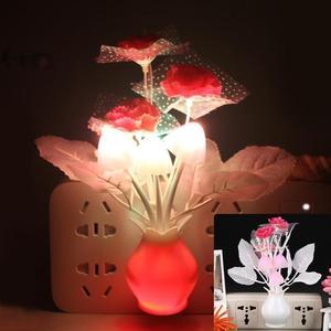 Image 1 - LED Colorful Flower Night Lights Luminous Lamp EU Plug Sensor Night Lamp Romantic Home Decoration for Baby Bedroom