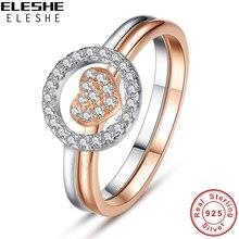 169f43b889cb ELESHE 925 anillos de plata esterlina redonda de cristal de Rosa anillo de  oro corazón anillos de boda para las mujeres joyería .