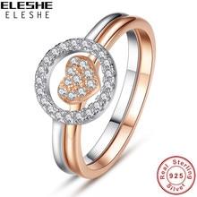 b4b06c3af7f0 ELESHE 925 anillos de plata esterlina redonda de cristal de Rosa anillo de  oro corazón anillos de boda para las mujeres joyería .