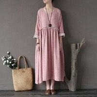 Women Spring Autumn Dress 2017 Bat Sleeve Loose Double Layer Irregular Dress Plus Size Cotton Vintage Women Dress