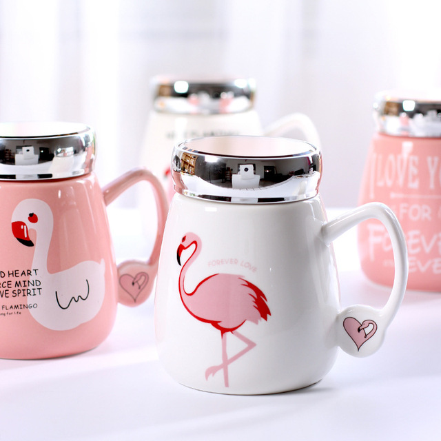 office cups. Flamingos Coffee Milk Mugs With Lid Breakfast Cups Cute Cartoon Office Cup Crystal Glass Drinkware