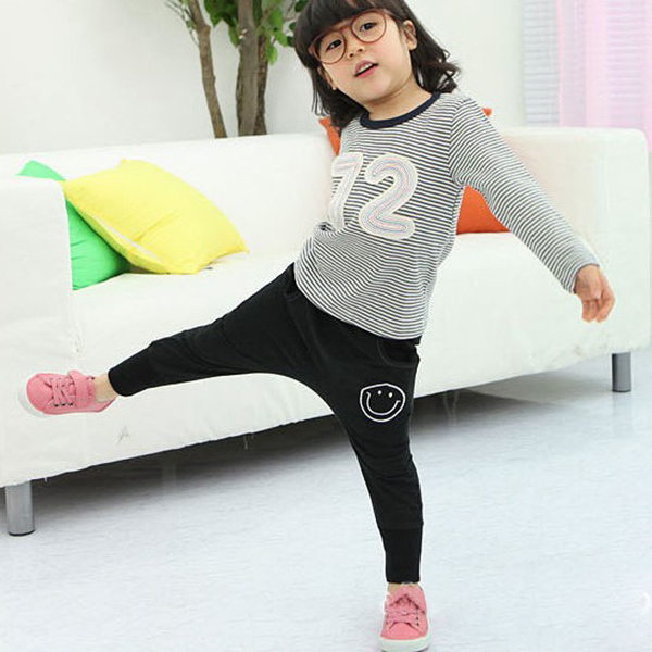 Newest Smile Pattern 1 6Y Kids Baby Girl Harem Pants Cotton Sports Long Pants Trousers