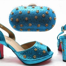 Rose stones size 38 to 42 middle heel 3.5 inches with clutches bag italian turquoise  blue 54b9ba7697e2