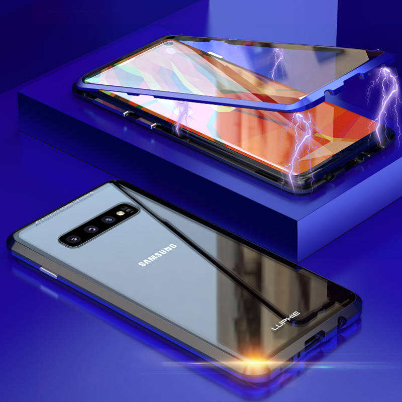 new products 04d2d 86544 Full Body Protective Case For Samsung Galaxy S10 Plus S9 Note 9 Magnetic  360 Bumper Cover For Samsung S10 Case &Tempered Glass