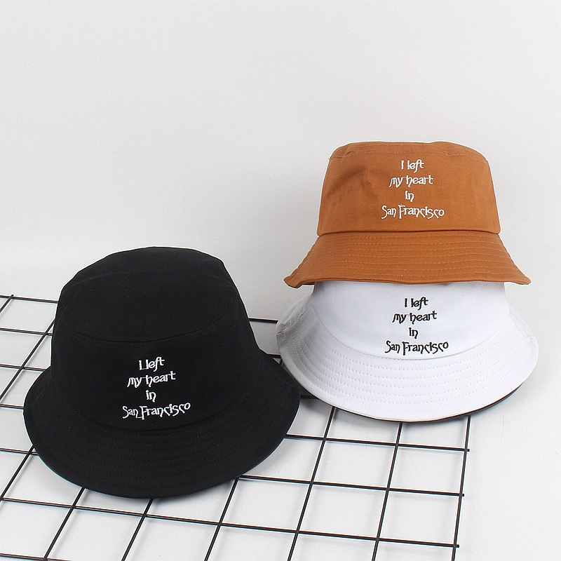 New Creative I Left My Heart In SFO Embroidery Fisherman Hat Summer Letters Wild Hat Couple Shade Men And Women Bucket Sun Hats