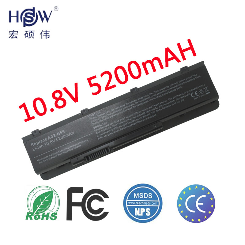 HSW 5200mAh LAPTOP NEW Battery A32-N55 07G016 HY1875 for ASUS N45 N45E N45S N45F N55 N55E N55S N55SF N75 N75E N75S N75SF цена