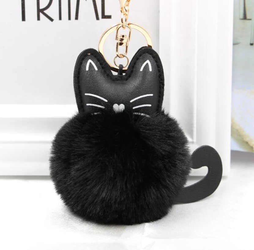 QiYuFang Car Keyring Rabbit Fur Ball Key Chain Black Cat Head Doll Keychain Animal Pompom Pendant Jewelry Snow Fur Key Holder