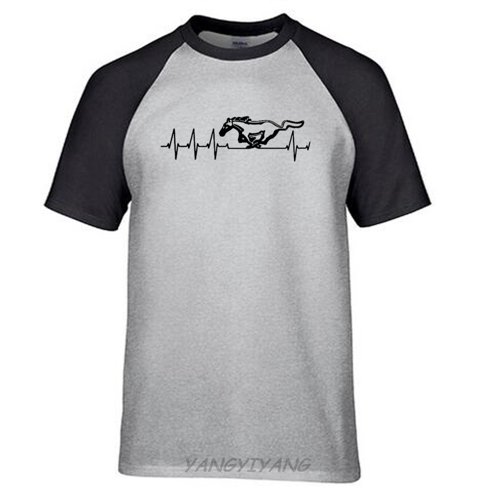 T shirt deftones white pony - Summer Fashion Men S Tee Mustang Logo Gt Pony T Shirt 100 Heavy Cotton O Neck Raglan Sleeve T Shirt Euro Size S 2xl