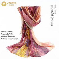 Yopota silk scarf dual purpose high end long shawl Chinese style free shipping topgrade gift