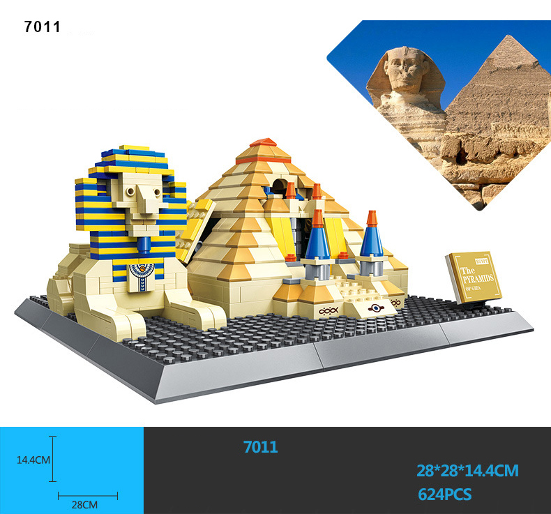 Hot world famous Historical architecture model Khufu Pyramid and Great Sphinx Egypt building block assemble toys collection kinetics пилка для натуральных и искусственных ногтей 120 180 ziggy zеbra