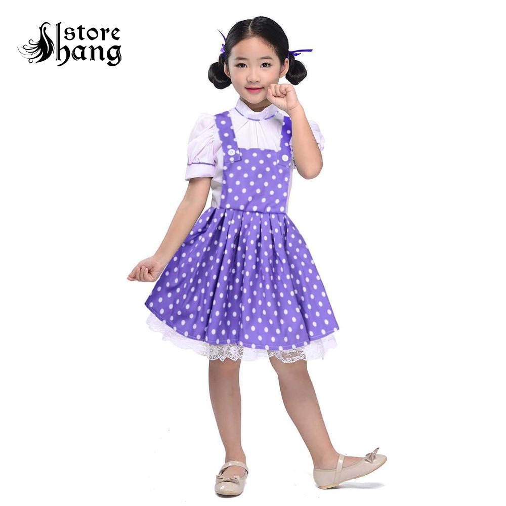 Little Girls Purple Polka Dots Vintage Overall Dress Cute Fluffy Puff Sleeve Maid Cosplay  Apron Dress Kids 1950s Costumes