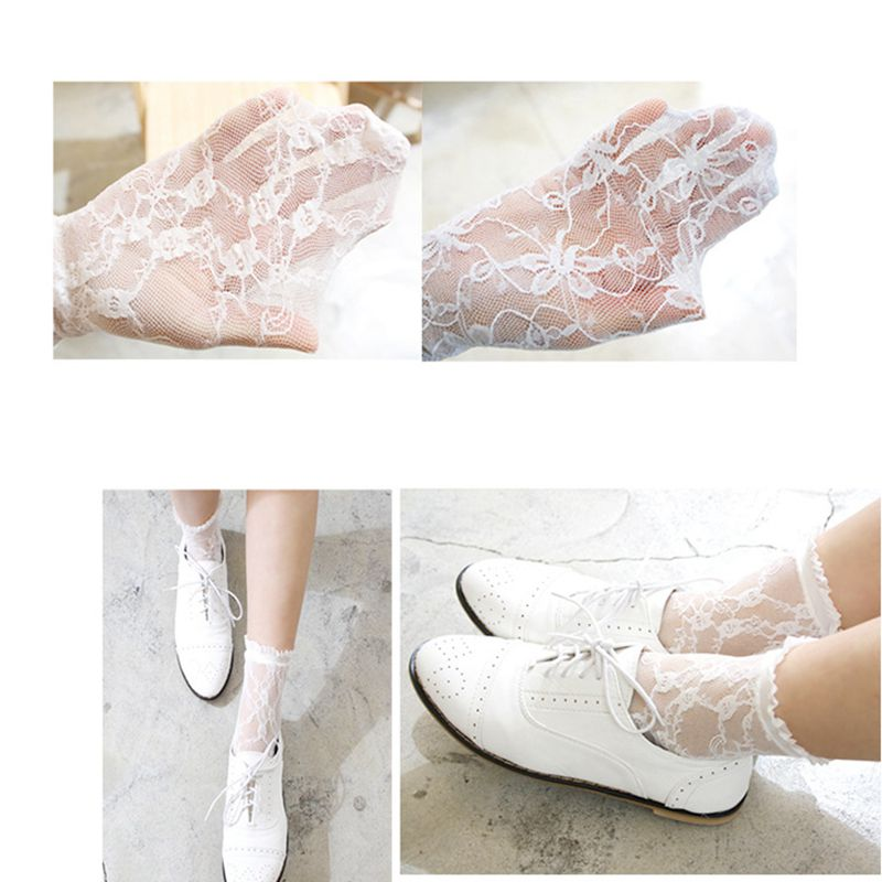 Fashion White Lace Women Socks Floral Pattern Thin Summer Retro Cute Hollow