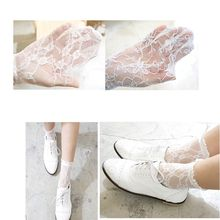 Fashion White Lace Women Socks Floral Pattern Thin Summer Retro Cute Hollow