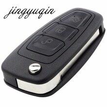 Jignyuqin 10 шт./лот удаленного Оболочки для Ford Focus Fiesta 2013 3 Пуговицы Флип Складные FOB чехол с HU101 лезвие