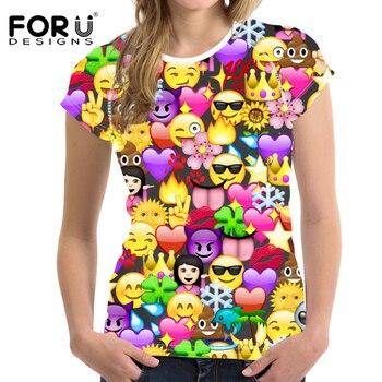 FORUDESIGNS Kawaii Emoji Print T Shirt Women 3D Smiling Face T-Shirt Harajuku Short Sleeve Tshirt Fashion Lady Clothes Tops XXL
