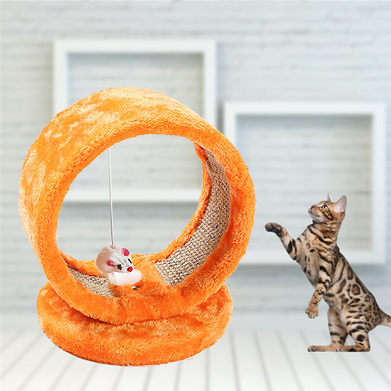 Orange Color Small Cats Toy Net Cat Climbing Frame Jumping Platform Cat Scratch Board Tease Mouse Pet Toys