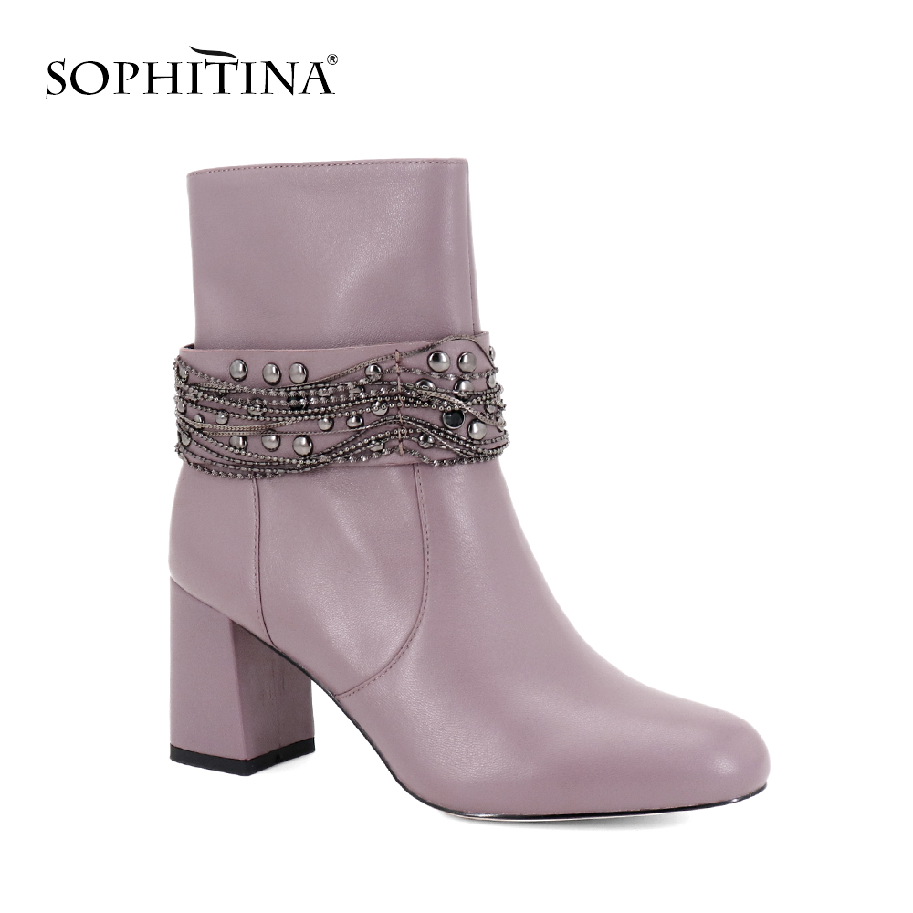 SOPHITINA Black Genuine Leather Ankle Boot Metal Chain Square Heels Handmade Shoes Warm Office Lady Solid Retro Woman Boots B79