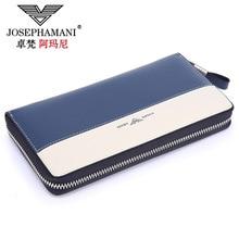 JOSEPHAMANI Designer luxury Men Wallet cow Leather Purse Long zipper Business Male Clutch Wallets Carteira Masculina Billeteras
