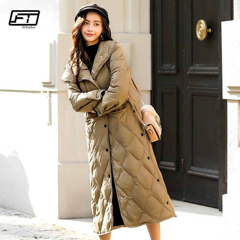 Fitaylor 겨울 화이트 오리 울트라 라이트 자켓 여성 overknee 싱글 브레스트 슬림 아웃웨어 여성 다운 파커 스 코트-에서다운 코트부터 여성 의류 의  그룹 1