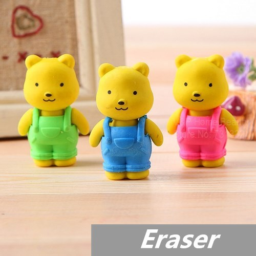69ce2b4c81474 US $6.38 15% OFF|6 pcs/Lot Teddy bear Erasers rubber for pencil kid  Removable BIB PANTS Novelty Toy gift stationery Office school supplies  6433-in ...