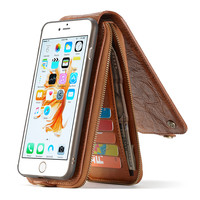 CaseMe Luxury Genuine Leather Cover For IPhone 6 Plus Case 6S Plus Multi Function Removable Magnet