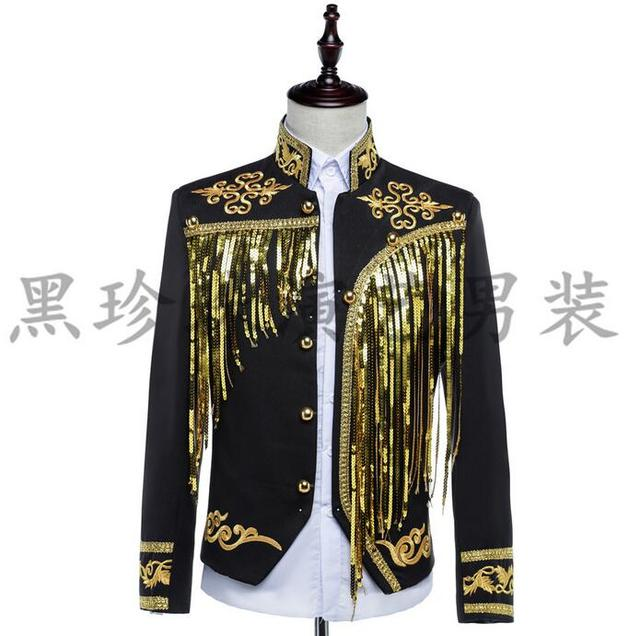 Paillette Tassel Men Suits Designs Masculino Homme Terno Stage Costumes For Singers Men Sequin Blazer Dance Clothes Jacket Black
