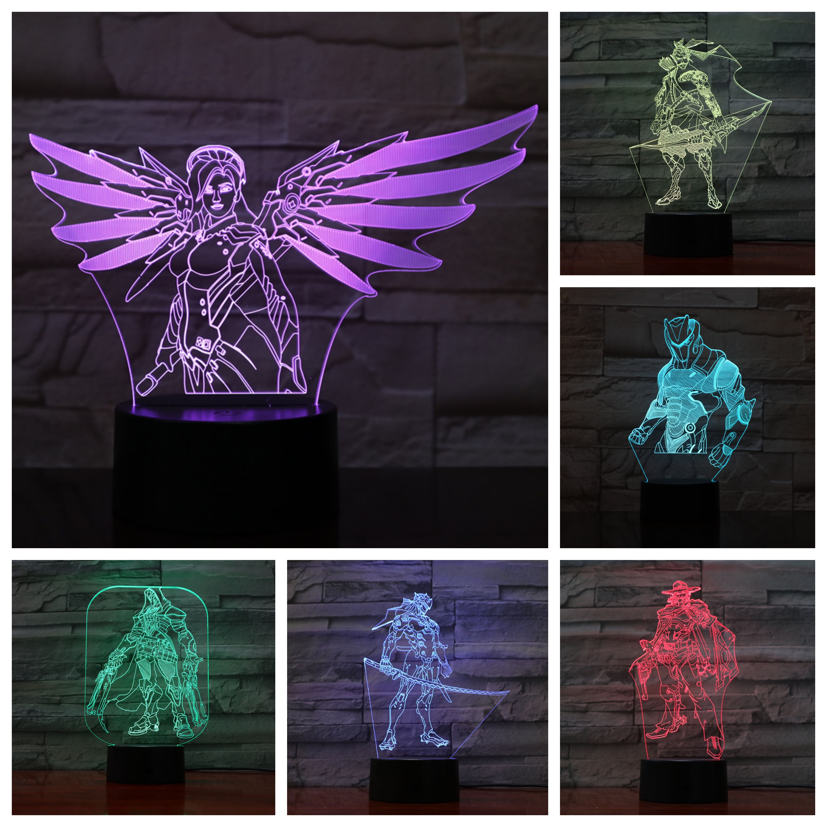 Game Overwatch 3D Lamp Table Bedroom Action Figure Decorative Lamp 7 Color Changing Dropshipping LED Night Light Home Decor