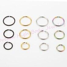 Hoop Nase Gefälschte Ohr Ohrring Ringe 22G 8mm Beliebte Körper Piercing Schmuck Neon 200 teile/los Großhandel Mixed Farbe stahl biegsamen