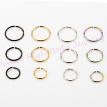 Hoop Nose Fake Ear Earring Rings 22G 8mm Popular Body Piercing Jewelry Neon 200pcs/lot Wholesale Mixed Color Steel bendable