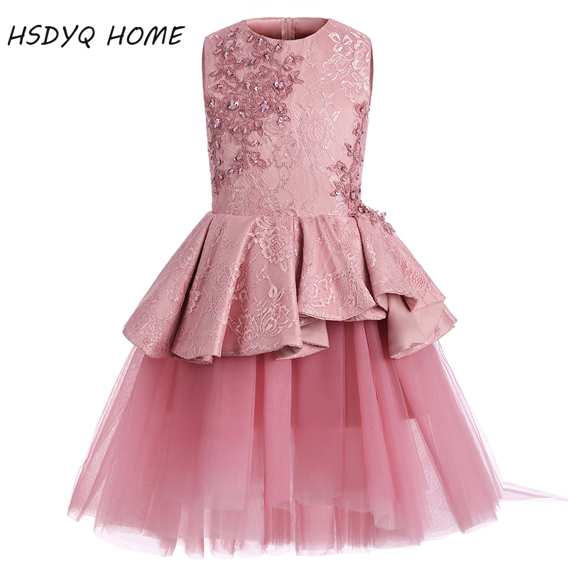 New arrival A-Line   Flower     Girl     Dresses   Appliques Princess Lace Tiered Ruffles   Girls   party beading   Dresses   2017