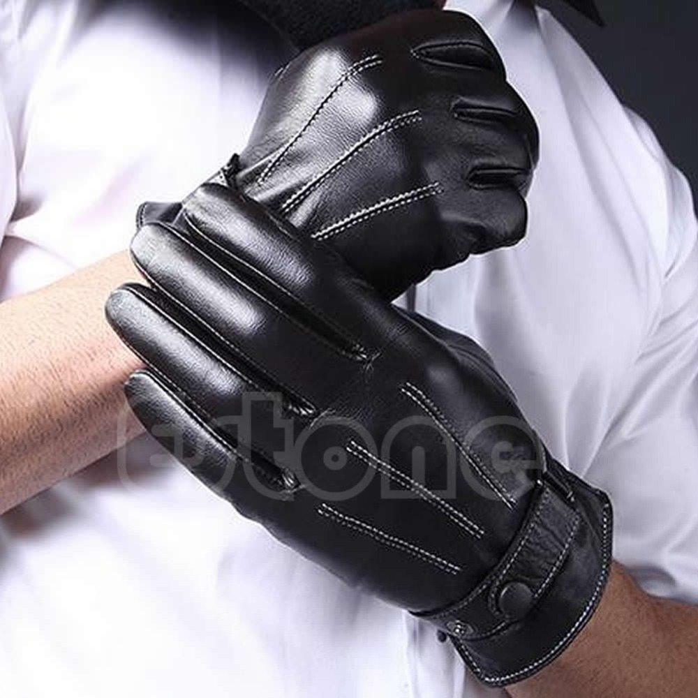Patent leather driving gloves - 1pair Men 3 Lines Winter Warm Driving Gloves Faux Leather Lined Touch Screen Gloves