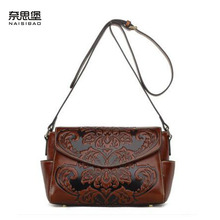 2016 New genuine leather women bag brands cowhide fashion quality embossing women leather shoulder messenger  bag