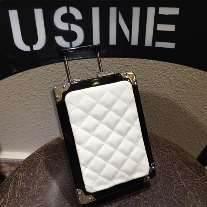 ФОТО Girls Funny Bag Acrylic Leather Diamond Lattice Mini Luggage Trolley Case Evening Clutch Chain Shoulder Cross Body Bag XA1363A