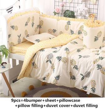 Promotion! 6/9PCS pineapple Cartoon Cot Bedding piece Set Cotton bedroom crib set baby bedding set whole set, 120*60/120*70cm