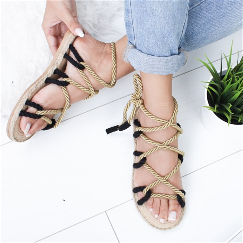 HEFLASHOR 2019 Rome Lace Up Women Sandals Hemp Fashion Simple Rope Boho Women Sandals Casuals Cross Women Shoes DropshippingHEFLASHOR 2019 Rome Lace Up Women Sandals Hemp Fashion Simple Rope Boho Women Sandals Casuals Cross Women Shoes Dropshipping