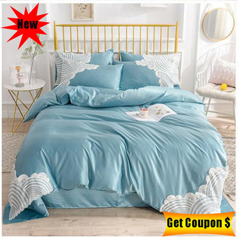 free shipping Euro style high quality 4pcs multi-size silk cotton bedding set embroidered bed sheet pillowcase duvet cover sets