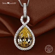 Shipei Genuine Water Drop Citrine Neckalce for Women Real 100% 925 Sterling Silver Teardrop Necklace Wedding Fine Jewelry Gift almei 8ct teardrop citrine bead 925 sterling silver rose gold color vintage neck jewelry decoration for women with box 40
