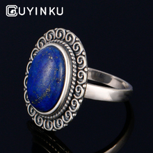 GUYINKU Genuine 925 Sterling Silver Jewelry Over Shape Natural Blue Lapis Lazuli Gemstone Rings For Women Birthday Gift