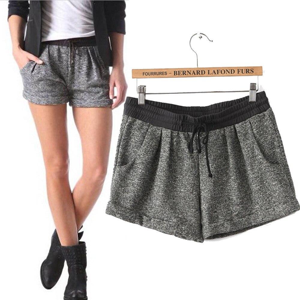 2014 Summer New Women Casual Grey Elastic Waist Shorts Girl Cotton ...