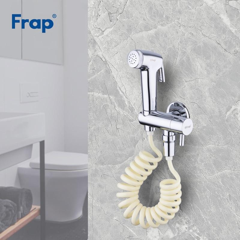 Frap new 1 Set Solid Brass Single Cold Water Corner Valve Bidet faucet Function Cylindrical Hand Shower Tap Crane chrome Y50001