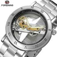 Forsining ステンレス鋼ファッション防水自動腕時計メンズスケルトン腕時計シルバー機械式メンズ腕時計トップブランドの高級