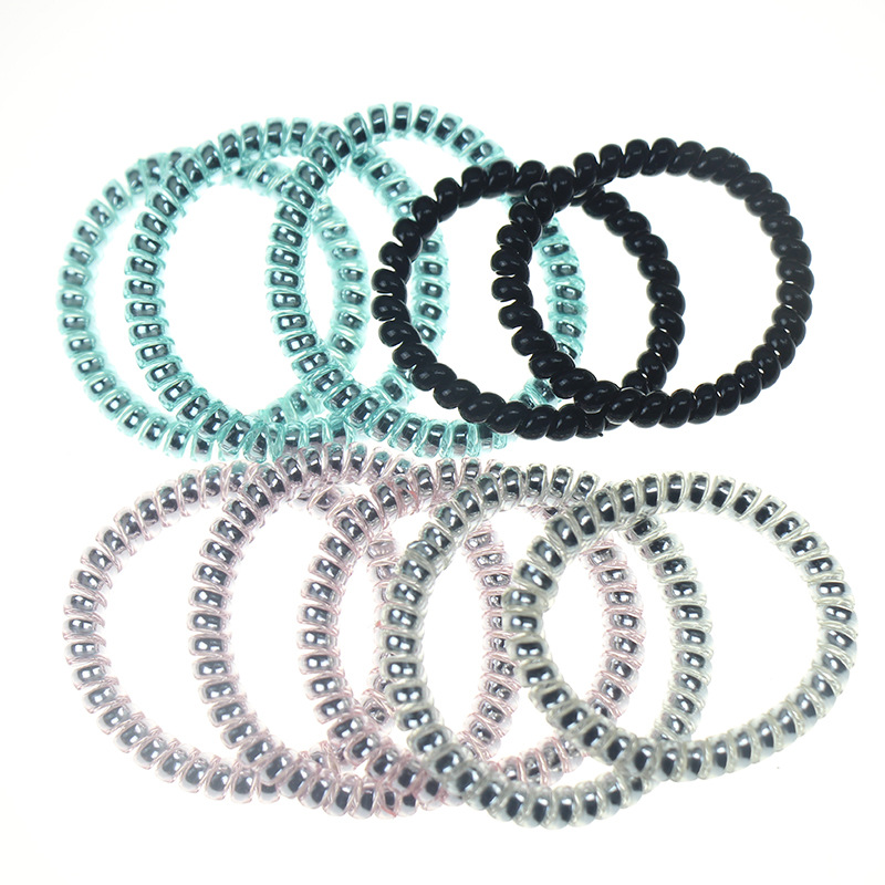 10Pcs Women girl Telephone Wire Line Headband Rubber Hair Rope Elastic Hairbands Spiral Shape Hair Ties   Headwear   Accessories