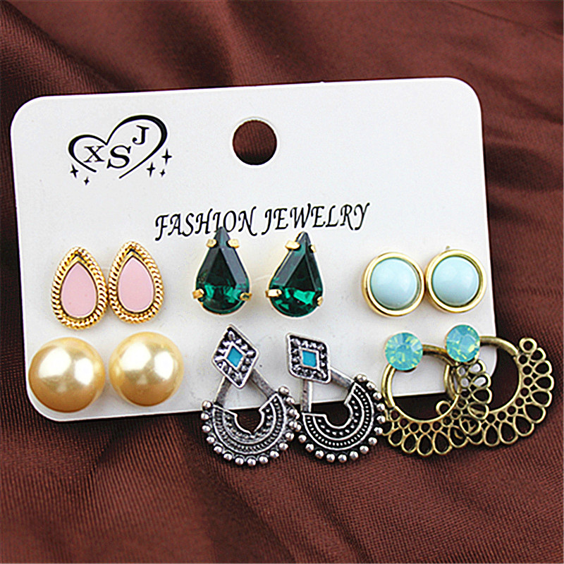 Fashion style beauty jewelry wholesale Girl Birthday Party pearl ear nail powder green mix type earring agent shipping