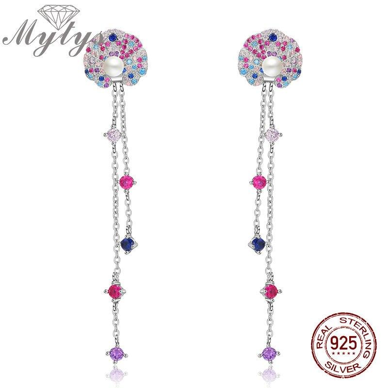 Mytys Sterling Silver 925 Earrings Long Dangle Charm Link Chain High Level Zircon Earring Line Double Fashion S925 Jewelry CE412