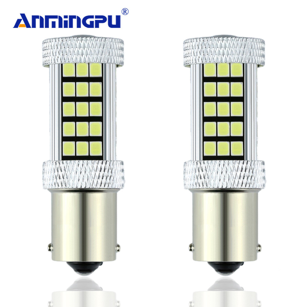ANMINGPU 2x 1156 BA15S 63SMD P21W LED R5W Bulbs Car Driving Turn Signal Lights Backup Lamp Reverse Parking 6000K White/Amber/Red