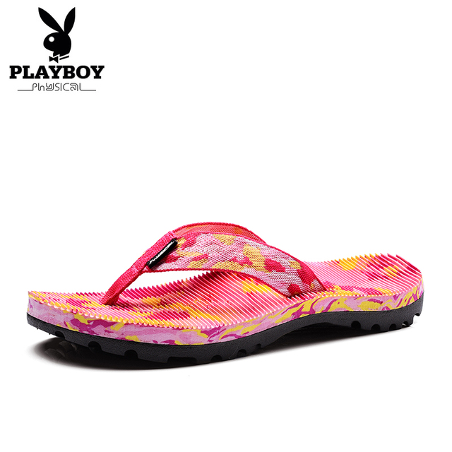 PLAYBOY Women's Flip Flops Ladies Beach Shoes Outside Slippers PVC Outsole  Summer Sandals For Women Size